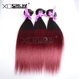 Wholesale Mixed Premium Weave - Ombre brazilian hair straight weave 7a red wine hair extensions for cheap 2 bundles virgin human weave remy wave premium too