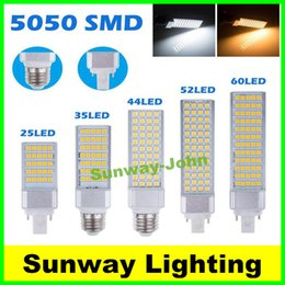 Wholesale E27 9w Corn - Horizontal Plug lights led corn bulb E27 G24 G23 SMD 5050 2835 AC 85-265V 6W 7W 9W 10W 12W 14W 15W 60 LEDs