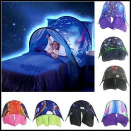Wholesale Tent Style Mosquito Net - 9 Styles 80*230cm Kids Dream Tents Folding Type Unicorn Moon White Clouds Cosmic Space Baby Mosquito Net Without Night Light CCA8208 10pcs