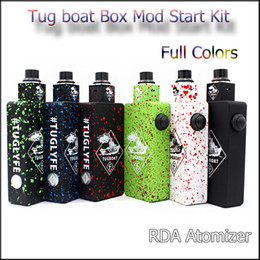 Wholesale Tugboat Rda Mod Kit - Top Quality Popular Tug boat Box Mod Start Kit Tuglyfe Unregulated Box vape Mod Kit with Tugboat Mod Aluminum Body RDA Atomizer DHL