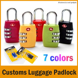 Wholesale Tsa Travel - 7 Colors Customs Luggage Padlock TSA338 Resettable 3 Digit Combination Padlock Suitcase Travel Lock TSA locks