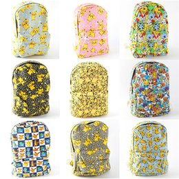 Wholesale Backpack Student School Bag - 9styles New Poke mon Canvas Backpacks Pocket Monster School bag Charmander Bulbasaur Eevee Pikachu print Students bags