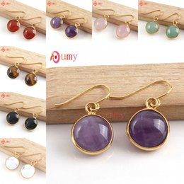 Wholesale Red Cabochon Earrings - Wholesale 10Pair Popular 18K Gold Plated Multi Style Quartz Stone Cabochon Dangle Earrings For Women Fashion Jewelry