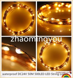 Wholesale Changeable Candles Led - YON waterproof DC24V 50M 500LED LED String Lights Christmas Fairy Lights 8 colors Copper Wire LED Starry Lights Wedding Decoration
