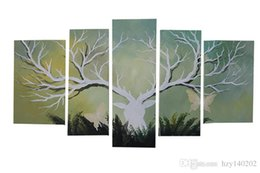Wholesale Deer Canvas - YIJIAHE Wall Art h28 5Panel deer head Hand-Painted HQ Paintings On Canvas Decorative Bedroom Living Room Office ect.