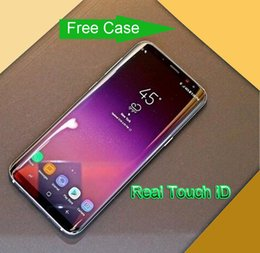 2019 teléfono tri sim 5.8 Inch Fringerprint real Goophone S8 + S8 Plus teléfono inteligente MTK6580 Quad Core 1GBRAM 16GBROM Pantalla de curva 8MP Cámara trasera Mostrar teléfono 4G / 128G teléfono tri sim baratos