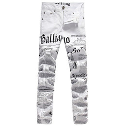 Wholesale Jeans Punk Slim - New Original Design Top Quality Men's Galliano Slim Jeans Punk Rock Nightclub DS DJ Newspaper printed pattern Jeans Hairstylist beggar pants