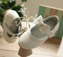 Wholesale Girls Dress Size 18 - 2016 Autumn Children Girls Handmade Genuine Leather Shoes Pink White Black Baby Girls Dance Bowknot Shoes Sweet Dress Shoes B4146