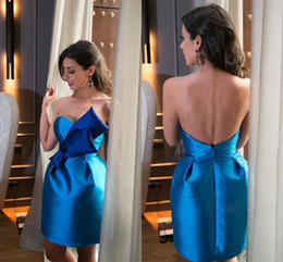 Wholesale Cheap Big Bows - Blue Short Party Dresses Cheap Sweetheart Big Bow Satin Satin Special Occasion Dresses Evening Gowns Low Back And Zipper Short Prom Dress