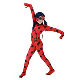 Wholesale Ladies Cat Girl Costumes - Costume Lady Bug kids Costumes Sexy Children Girl Spandex Miraculous Ladybug Cat Noir Cosplay Adult Romper Halloween Fancy Wholesale PS045
