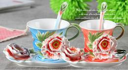 Wholesale Coffee Cup Gift Sets - 3D Floral Ceramic Coffee Mugs Coffee Cup Tea Sets For Friend Gifts 1 Porcelain 1 Saucer 1 Spoon
