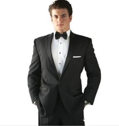 Wholesale Wedding Suits Pants Price - High-quality Tailor-made Black Groom Groomsmen Tuxedos Three-piece suits (Jacket+Pants+Tie) Classic Fit Men Wedding Suits Reasonable Price