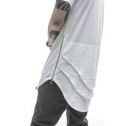 Wholesale West Side T Shirt - Wholesale-Justin Bieber Extended T shirt Mens Fishtail Multi Fold Curved Hem Side Zipper Short Sleeve Longline T shirts Hip Hop KANYE WEST