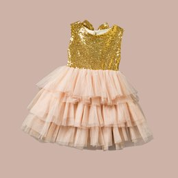 Wholesale top pretty girl - Spring Summer Girls Dress Pretty Sequin Big Bowknot Backless Dress Girl Baby Clothes Dress Tops 5pcs lot