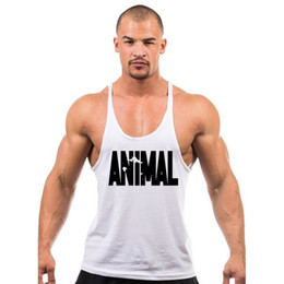 Wholesale Mens Cotton Singlets - Wholesale-Fitness Men Bodybuilding Gym Tank Top Mens Vest Animal Gym Training Singlet Masculina Sleeveless Male Undershirt Muscle Shirt