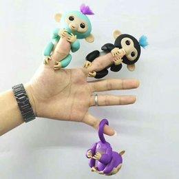 Wholesale Stuffed Monkey Wholesale - 130mm Colorful Finger Monkey Fingerlings Interactive Baby Monkey Sound Finger Motion Hanger Toy Gift