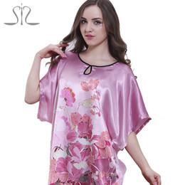 Wholesale Green Ladies Pajamas - Wholesale-2016 Top Promotion Summer Style Silk Robe Longue Kigurumi Pajamas For Women Natural Satin Ladies Sleep Top 58060