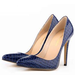 Wholesale Ladies Size 11 Dress Shoes - Sexy Pumps Ladies Crocodile Grain pattern pointed toe High Heels Stilettos Shoes Size US 4-11 Women Pumps Free Shipping