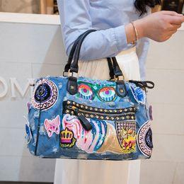 Wholesale Cartoon Luggage Bag - 17918003 New 2017 Women Luggage Travel Graffiti Bags Cute Cartoon Daypack Denim Bags Handbags Fashion Shoulder Bag Female