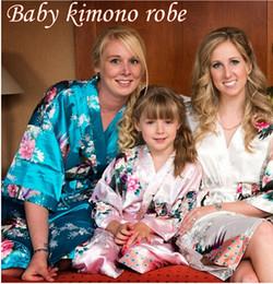 Wholesale Wholesale Wedding Gowns Sleeves - Satin Pajama Kid   Children Sleepwear Wedding Flower girls Gown High Quality Kimono Robes Peacock Nightgown