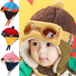 Wholesale winter girl velvet hat - Autumn and winter plus thick velvet children's glasses flying cap hat baby winter hats ear cap baby hat 100g