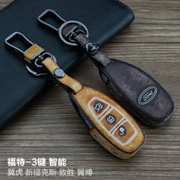 Wholesale Ford Focus Key Cover - For Ford Kuga Focus EcoSport Mondeo 3 Buttons Smart 100% Genuine leather Graffiti Remote Control Car Keychain key cover Auto Accessories