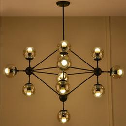 Wholesale Fluorescent Kitchen Ceiling Light Fixtures - Modo Bean Chandelier Edison Industrial Pendant Lights Glass Ball Loft Ceiling Lamps Lighting Fixtures with 5 10 15 Heads