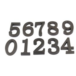 Wholesale Black Digits - Black Digits #0-9 House Hotel Door Number Address Plate Sign Size 50x30mm Self Adhesive Sticker Alloy Room Gate Number