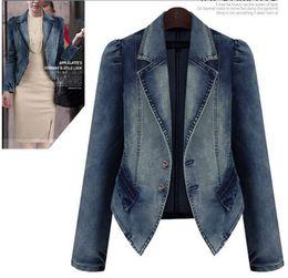 Wholesale Denim Women Casual Fashion Wear - Denim Women's Jackets Autumn Lady's Wear Single-breasted Lapel Neck Puff Sleeve Slim Coat Fashion Casual Women Clothing Short Coat 4XL 5XL