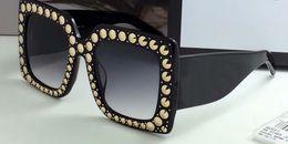 Wholesale Cat Eye White Stone - Designer STONE 0145S Crystal Square Oversized Sunglasses Black Grey Gradient 0145 Fashion brand Sunglasses eyewear New with case