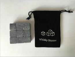 Wholesale Whisky Set - 9pcs Set Whisky Stones Ice Stones Bar Christmas Whiskey Stone with Velvet Bag Whiskey Rock Stones Set Bar Supplies Great Gift