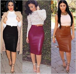 Wholesale Pu Skirts - Europe 2017 summer new long section of female skirts high pockets hip skirt PU Pio big yards Slim Skirt US Fast Delivery pencil