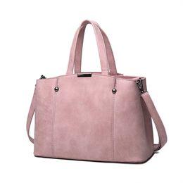 Wholesale Hard Candy Bows - Hot Sale Nubuck Leather Women Top-Handle Bags Candy Color Female Shoulder Bag Rivet Women Bags