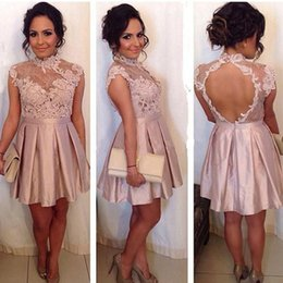 Wholesale Taffeta Mini Dress Straps - Stunning Cocktail Dresses Short High Neck Open Back Lace Appliques Prom Gowns A Line Cheap High Quality Custom Made