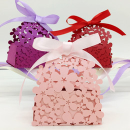 Wholesale Candy Red Flowers - Type-3 100pcs Laser Cut Hollow Flower Candy Box Chocolates Boxes With Ribbon For Wedding Party Baby Shower Favor Gift
