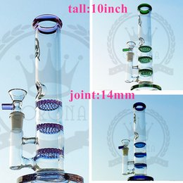 Wholesale Type Purple Color - glass factory tall small color bongs glass water pipe recycler oil rigs dab beaker quartz banger bowl bubbler perc 14mm purple pink black