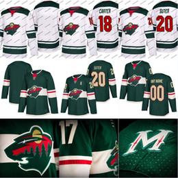 Wholesale Ryan Suter - 2017-18 Minnesota Wild Jersey 18 Ryan Carter 19 Luke Kunin 20 Ryan Suter 21 Ryan Malone Custom Hockey Jerseys White Green Free Shipping