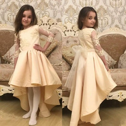 Wholesale Toddler High Low Dresses - 2017 High Low Wedding Dress Short Front Long Back Flower Girl Dresses Lace Appliques Illusion Sleeves Toddler Pageant Dresses