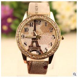 Wholesale Glass Eiffel - Retro Eiffel Tower Pattern bracelet watches women ladies brand quartz luxury fashion rhinestone diamond watch Wristwatches gifts Accessories