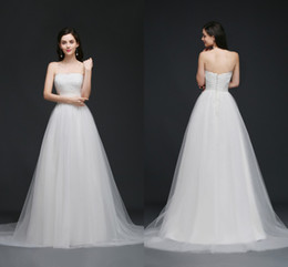 Wholesale Cheap Empire Line Tops - Sweet Strapless Garden Wedding Dresses Lace Top Soft Tulle Beach Wedding Gowns Summer Cheap Wedding Gowns Robe CPS762
