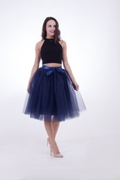 Wholesale Tulle Adult Skirt Xl - Black A-Line Tulle Skirt For Women High Waist 5 layers Adult Knee Length Tutu Vintage Wedding Prom Homecoming Bridesmaid Even Party Skirts