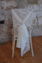 Wholesale Ivory Lace Chair Sashes - New Arrival Lace Crystal Romantic Beautiful Classic Wedding Supplies Wedding Events Beautiful Chair Cover Chair Sash