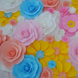 "Wholesale Wedding Lighting Background - 40CM (16"") Big Foam Rose Flower For Wedding Stage Background Door Decorative Flower Party Decoration Supplies 42 Colors"
