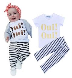 Wholesale Harem Zebra - 2016 INS children explosion models Oui! Letter T-shirt + striped harem pants suit men and treasure spring and summer baby clothes