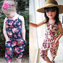 2019 bretelle floreali Summer INS Girls Floral Tuta Kids Suspender Pantalone Fiore stampato Outfit Sling Pagliaccetti per ragazze da 3-8 anni sconti bretelle floreali
