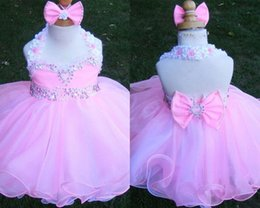 Wholesale Infant Toddler Glitz Pageant Dresses - Pink halter crystal backless sleeveless bow organza flower girls beads cupcake pageant dresses kids toddler glitz prom Infant ball gowns