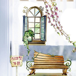 Wholesale bonsai wall - Two Fake Windows Potted Plants Bench Wall Stickers Home Decoration Wallpaper Art Mural Poster Living Room Office Bonsai Wall Applique Decor