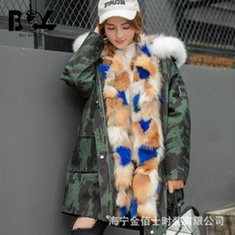 Wholesale Womens Jackets Real Fur - Womens Hooded Warm Winter Coats real Mink Fur Lined Parkas upscale Fox hair collar Military Jackets