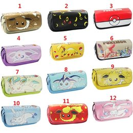 Wholesale Make Up Bag Big - New Hot Poke Mon Eevee Poke Ball Pikachu Pencil Double layer Case Pocket Make-Up Storage Bag student pencil box Pencil Bag F667