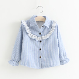 Wholesale Long Christmas Blouse - Baby Girls Lace Striped Shirts Kids Girl Princess Ruffle Blouse Girl Autumn Christmas Jumper Tops Babies Clothes D157